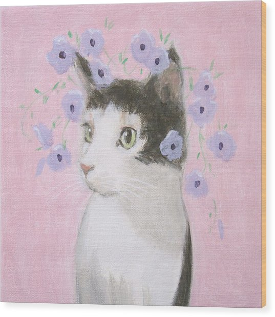 Cat With Purple Flowers Wood Print
