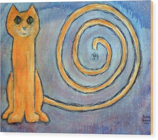 Cat World Wood Print