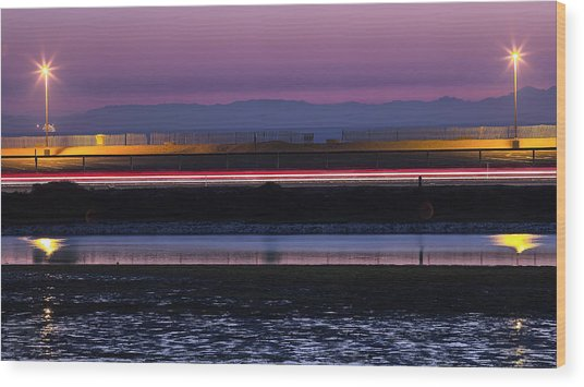 Catalina Bolsa Chica Pch Light Trails And The Wetlands By Denise Dube Wood Print