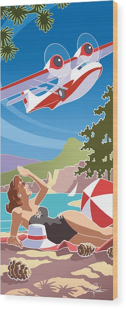 Catalina, Mid Century Travel Wood Print