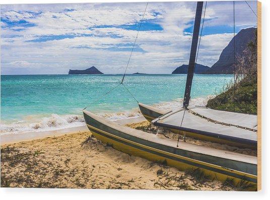 Catamaran On Waimanalo Beach Wood Print
