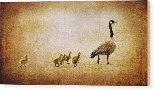 Catch Up Little Gosling Wood Print