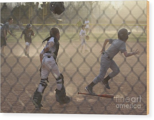 Catcher In Action Wood Print