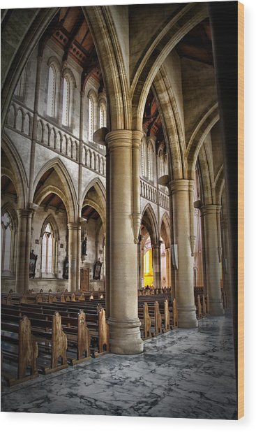 Cathederal Interior Wood Print by John Monteath