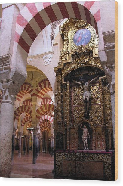 Cathedral In Mezquita Wood Print by Jacqueline M Lewis