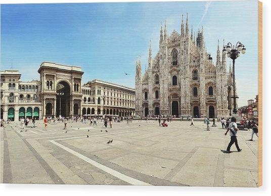 Cathedral Of Milan Galleria Vittorio Wood Print by Paul Biris