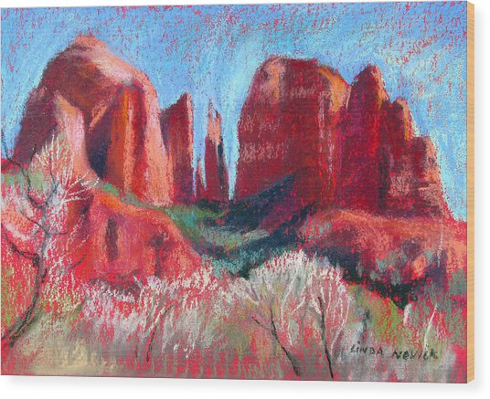Cathedral Rock On Red Paper Wood Print