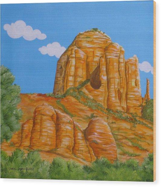 Cathedral Rock Sedona Az Left Wood Print by Carol Sabo