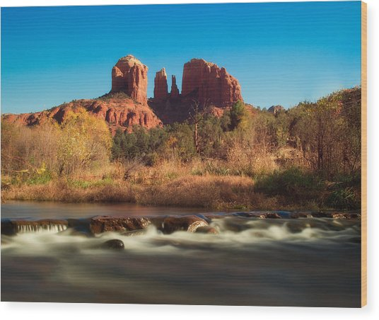Cathedral Rock With Flowing Water Wood Print