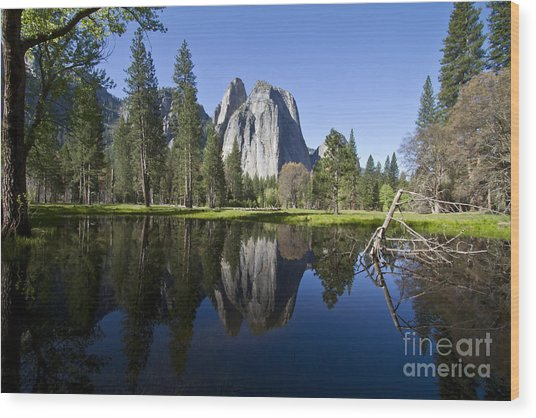 Cathedral Rocks Reflection Wood Print