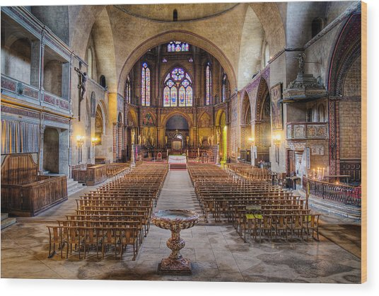 Wood Print featuring the photograph Cathedrale Saint-etienne Interior / Cahors by Barry O Carroll