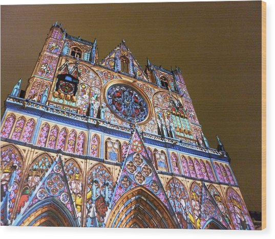 Cathedrale Saint-jean Illuminee Wood Print