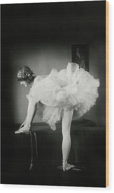 Catherine Crandell Tying Her Ballet Shoes Wood Print