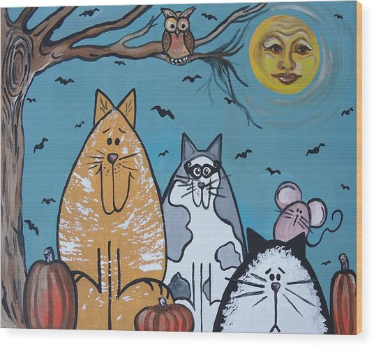 Cats And Harvest Moon Wood Print