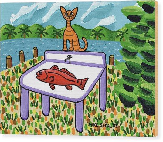 Cat's Fish - Cedar Key Wood Print