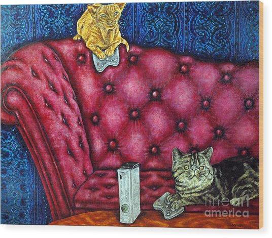 Cats Playing X Box Wood Print by Jay  Schmetz