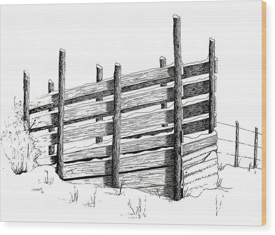 Cattle Chute Ink Wood Print