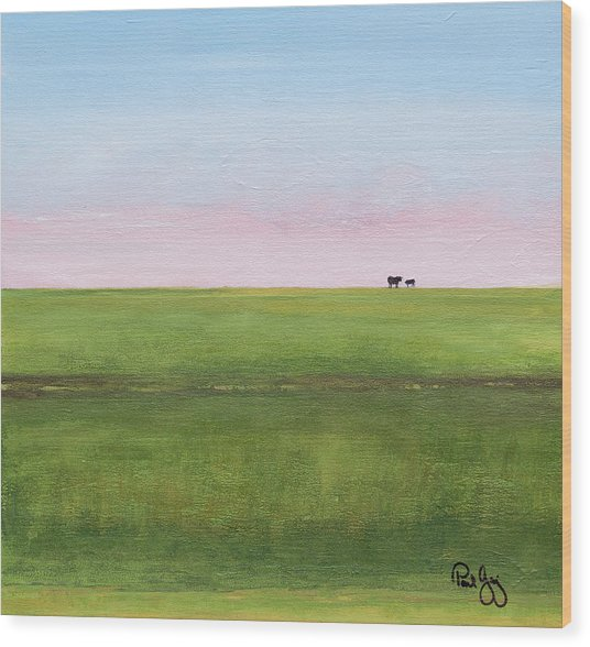 Cattle On The Levee Wood Print