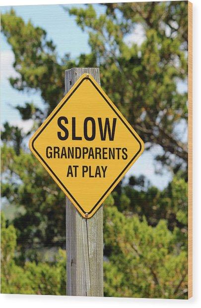 Caution Sign Wood Print