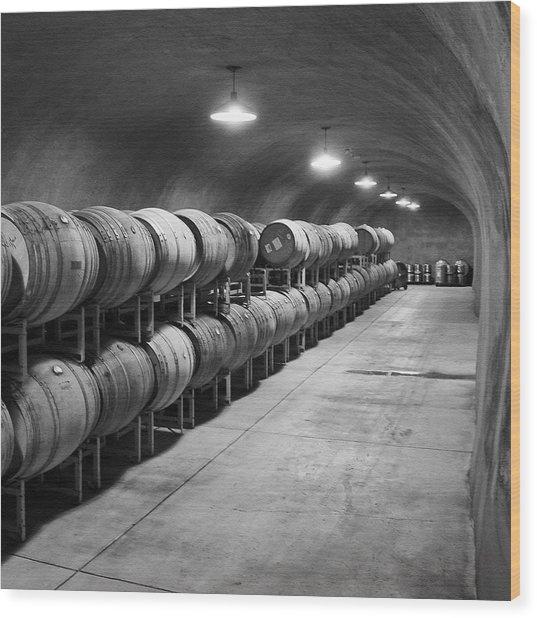 Cave Storage Of Wine Barrels Wood Print by Kent Sorensen