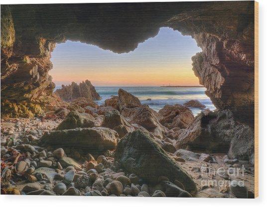 Beachside Cave Wood Print