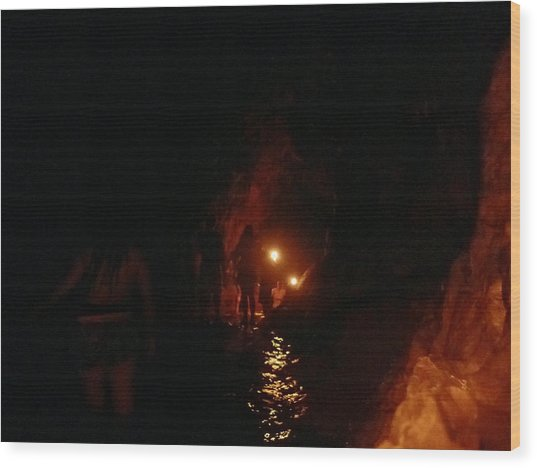 Caving With Candles And Cutoffs Wood Print