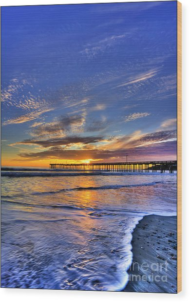 Cayucos Sunset Wood Print