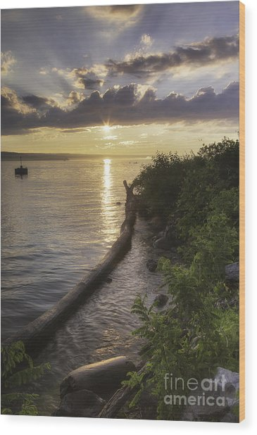 Cayuga Sunset II Wood Print
