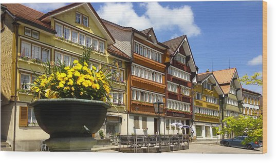 Ccolourful Traditional Appenzeller Homes Urnaesch Canton Appenzell Outer Rhodes Switzerland Wood Print by PIXELS  XPOSED Ralph A Ledergerber Photography