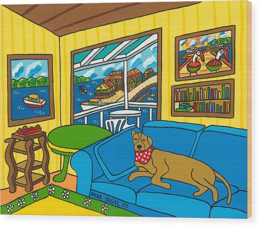 Cedar Key Snoozer Wood Print