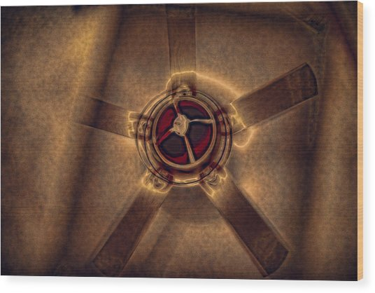 Ceiling Fan Reflected In Ipad Wood Print
