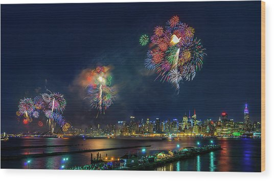 Celebration Of Independence Day In Nyc Wood Print