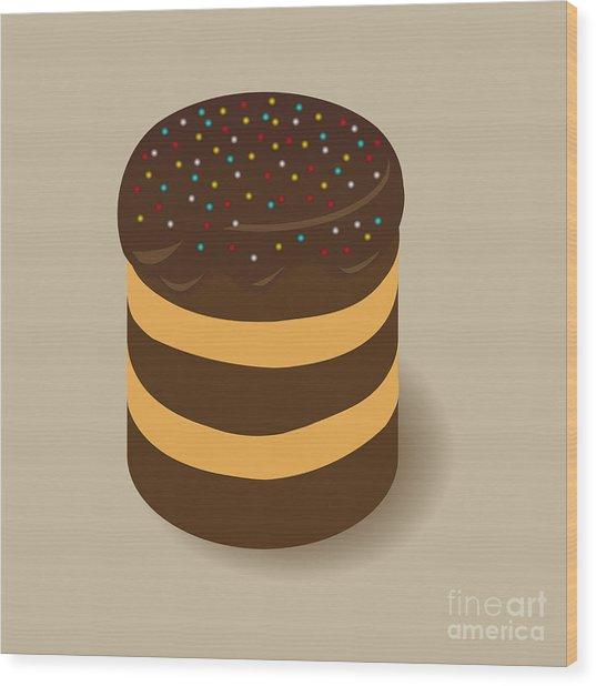 Celebratory Chocolate Cake With Colored Wood Print