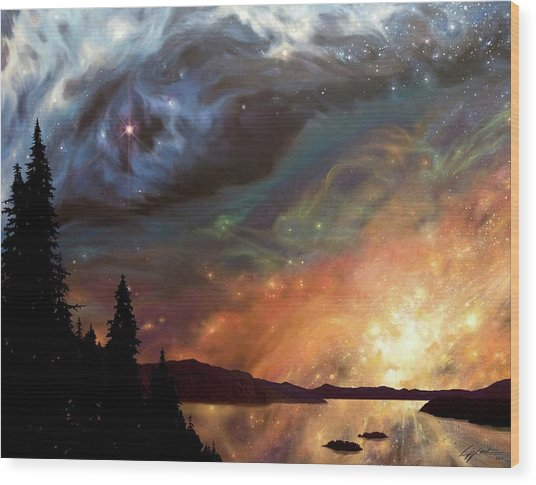 Celestial Northwest Wood Print
