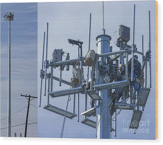Cell Tower Workers Wood Print