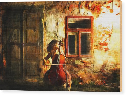 Cellist By Night Wood Print