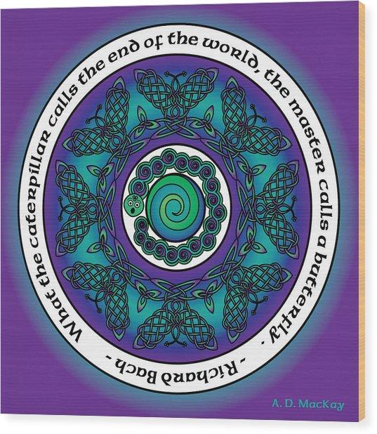 Celtic Butterfly Mandala Wood Print