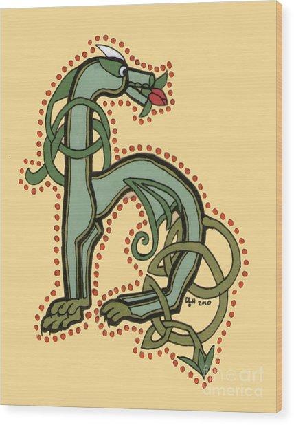 Celtic Dragon Manuscript H Wood Print