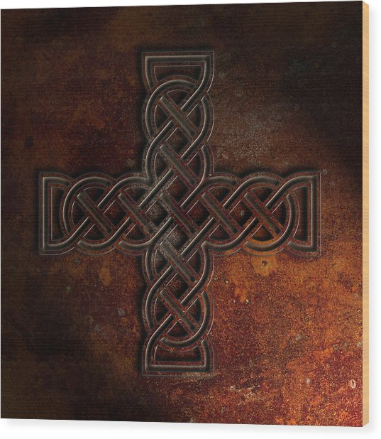 Celtic Knotwork Cross 2 Rust Texture Wood Print