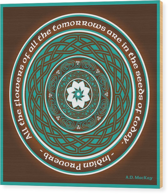 Celtic Lotus Mandala Wood Print