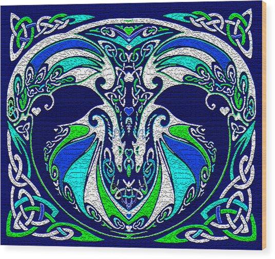 Celtic Love Dragons Wood Print