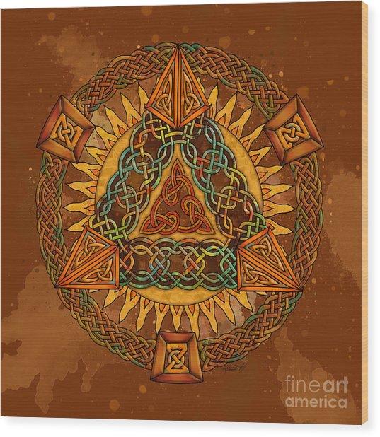 Celtic Pyramid Mandala Wood Print