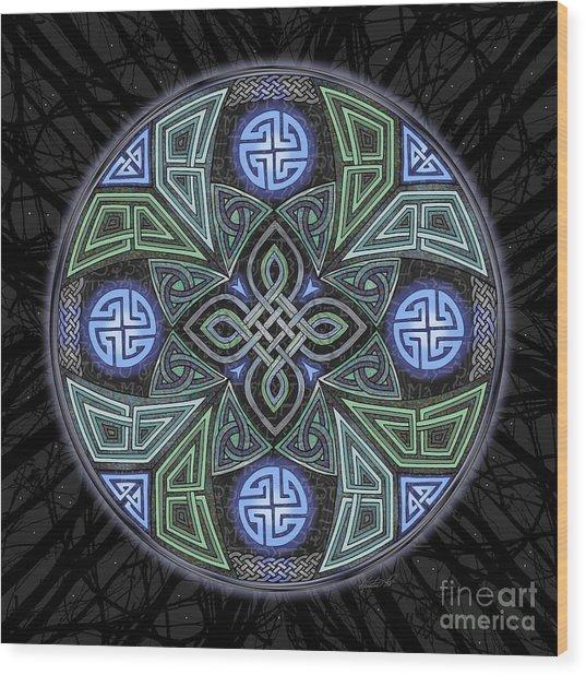 Celtic Ufo Mandala Wood Print