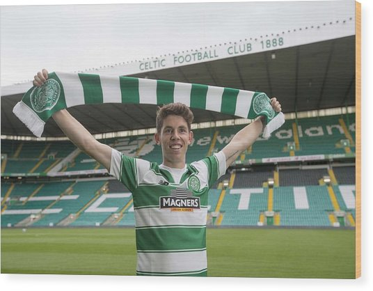 Celtic Unveil New 4-year Signing Ryan Christie Wood Print by Jeff Holmes