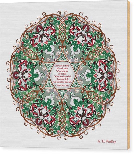 Celtic Winter Fairy Mandala Wood Print