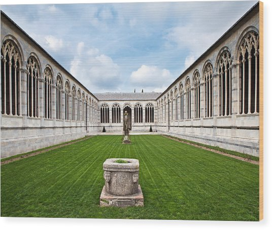 Cemetery At Cathedral Square In Pisa Italy Wood Print by Susan Schmitz