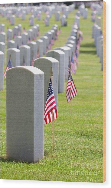 Cemetery Memorial Day Wood Print