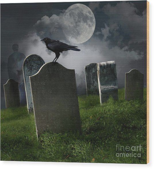 Cemetery With Old Gravestones And Moon Wood Print