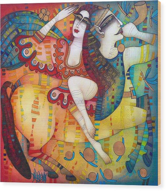 Centaur In Love Wood Print by Albena Vatcheva