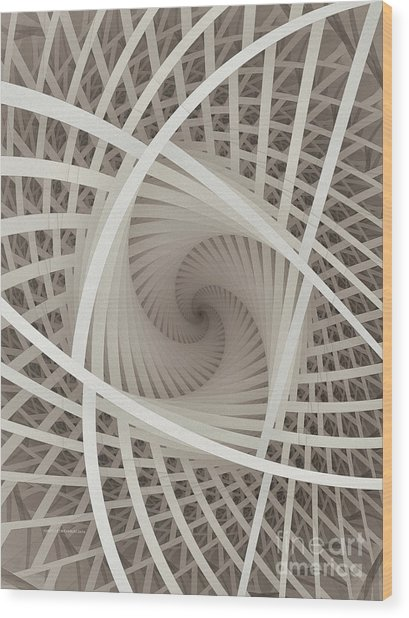 Centered White Spiral-fractal Art Wood Print